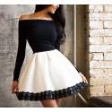Кокетна рокля в черно и бяло